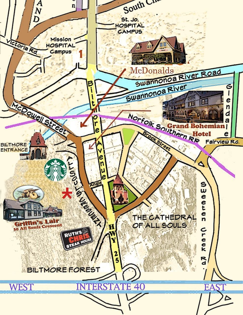 Map - Griffin's Lair, Asheville NC Map Of Griffin Nc on griffin texas map, griffin indiana map, griffin va map, griffin ga map,